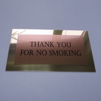 Табличка Thank you for no smoking на двойном металле